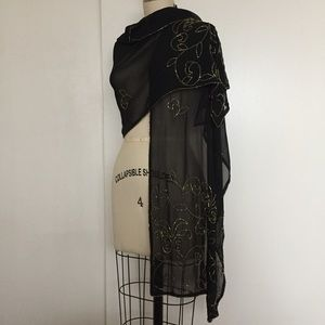 Mix Nouveau Sheer Black Beaded Shawl/Wrap